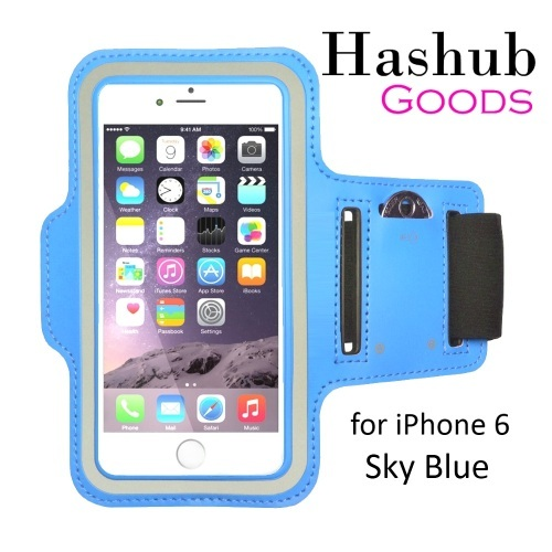 Hashub Goods Sports Running Armband for iPhone 6/Galaxy Alpha/Sony Z3/Moto X in Sky Blue