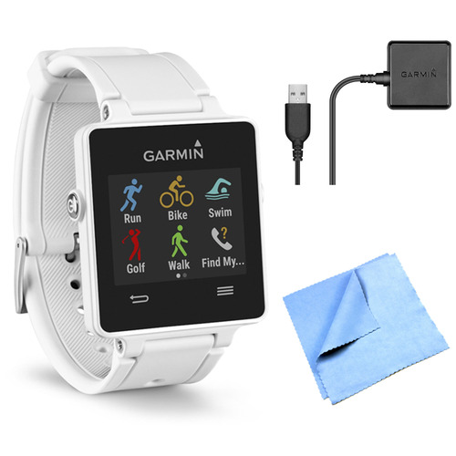 Garmin vivoactive GPS Smartwatch - White (010-01297-01) Charging Clip Bundle
