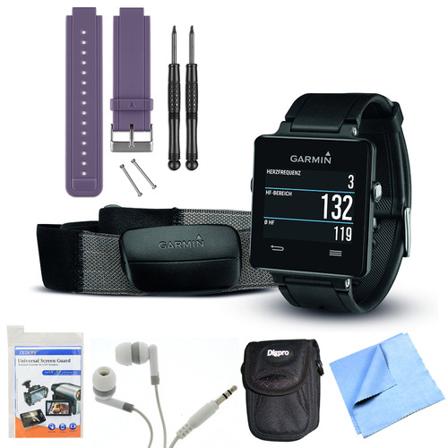 Garmin vivoactive GPS Smartwatch Black with Heart Rate Monitor Purple Band Bundle
