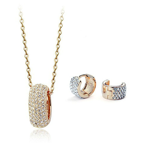 CZ Luxxe Jewelry Austria Crystal 18k Gold Plated, Gold Diamond Necklace and Earrings Set