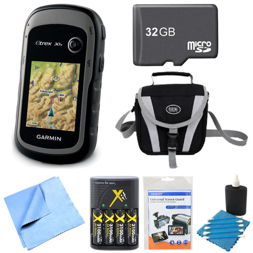 Garmin 010-01508-10 - eTrex 30x Handheld GPS 32GB Micro SD Memory Card Bundle