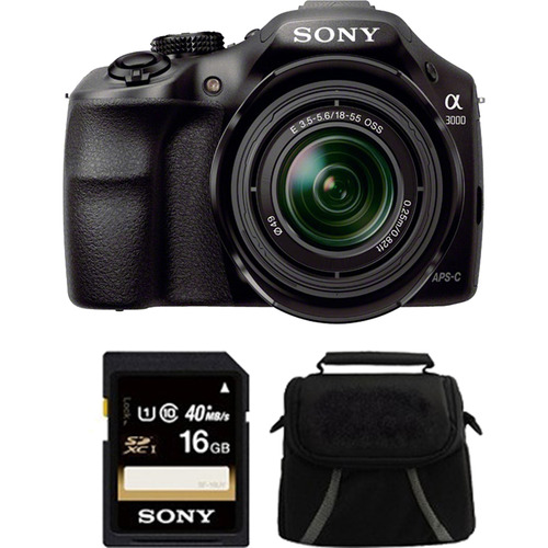 Sony a3000 Interchangeable Lens Digital 20.1MP Camera 16GB Card & Case Bundle